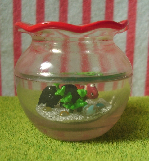 Japanese dollhouse miniatures all miniature toys pets for Fish bowl toy